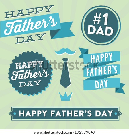 Happy Father's Day Vector Element Set - Ribbons and Labels - stock vector