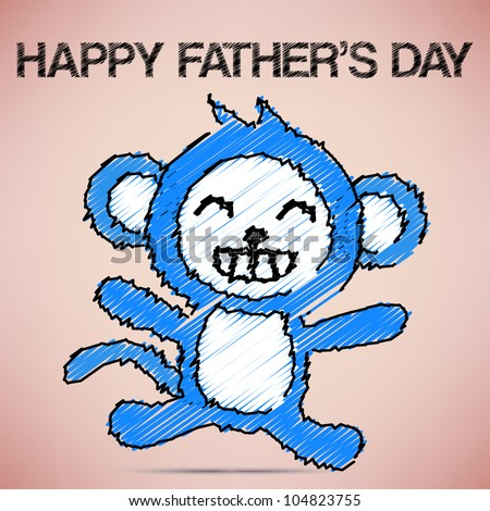 Happy Father's Day with Blue Monkey Vector - stock vector