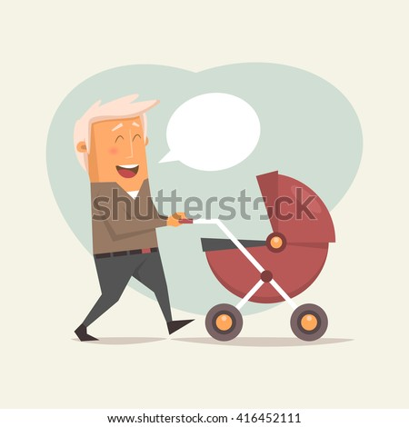 Happy father with a baby carriage. Vector illustration on the theme of Father's Day - stock vector