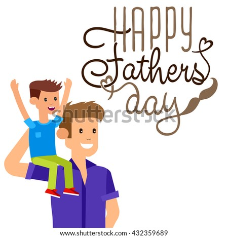 Happy fathers day background. Happy fathers day card. Calligraphy lettering for Fathers Day. Happy fathers day illustration - stock vector