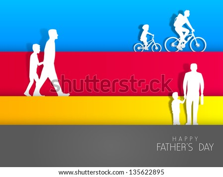 Happy Fathers Day background with father and son in various activities on colorful abstract background. - stock vector