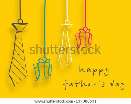 Happy Fathers Day background with handing neckties and gift boxes. - stock vector