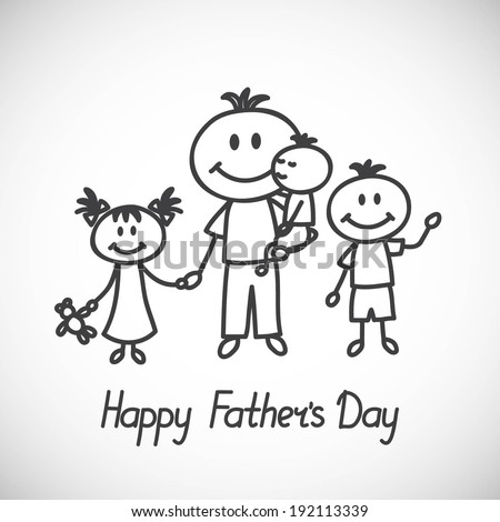Happy fathers day card, father with children (cartoon doodle) - stock vector