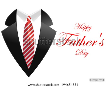 happy fathers day, greeting card with coat and necktie - vector illustration eps10 - stock vector