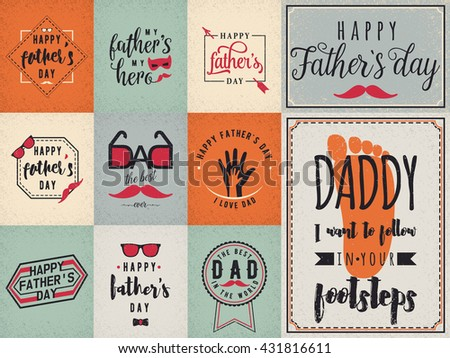 Happy fathers day greeting color backgrounds. Dad felicitation vintage retro card set. Mustache, spectacles, lettering, hands, ribbons elements for your design. Congratulation Man concept. - stock vector