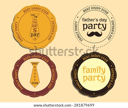 Happy Fathers Day logo and badge template with mustache and tie. Best for thematic party. Isolated on bright background. Vector illustration - stock vector