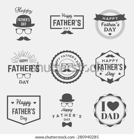 happy fathers day vintage labels set. vector illustration - stock vector
