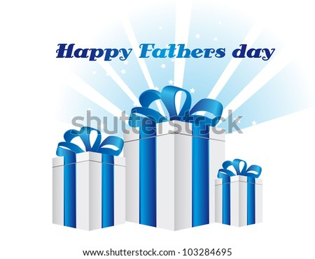happy fathers day with gifts card. vector illustration - stock vector