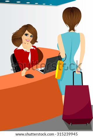 happy female receptionist sitting at hotel counter and woman with travel suitcase standing near her - stock vector