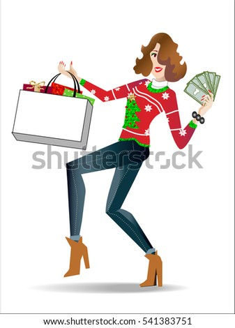 Happy female wearing ugly christmas sweater is  holding shopping bag of gifts, displaying money she saved.