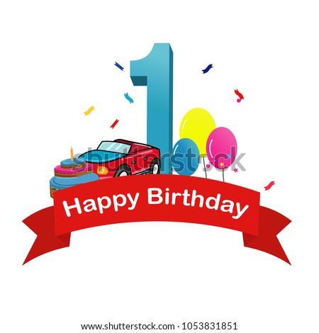 Happy First Birthday Baby Boy Greeting Stock Vector 1053831851