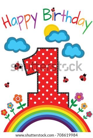 Happy First Birthday Card Stock Photo Photo Vector Illustration