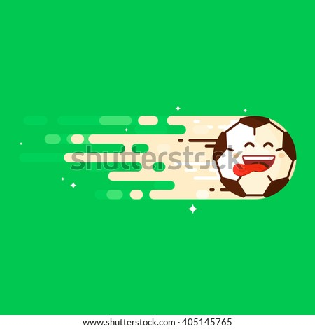 Happy Football Soccer Ball is Flying in the Goal - stock vector