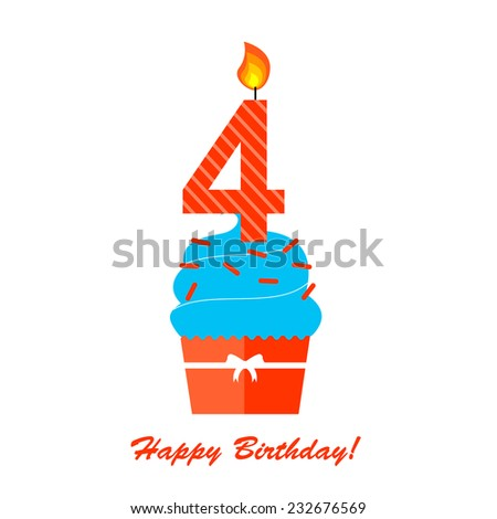 Happy Fourth Birthday Anniversary card with cupcake and candle in flat design style, vector illustration  - stock vector