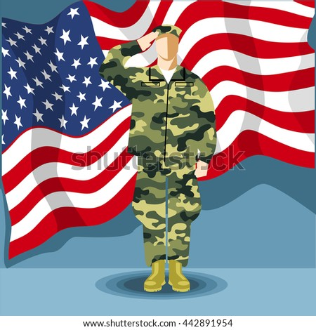 Happy Fourth Of July America, Independence Day Card, With An Army Soldier  And Flag