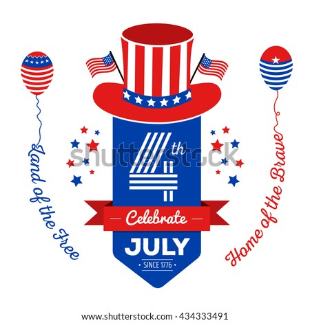 Happy fourth of July. Vector elements for American Independence Day on white background. Vector Illustration for 4th of July – greeting card, poster, banner. - stock vector