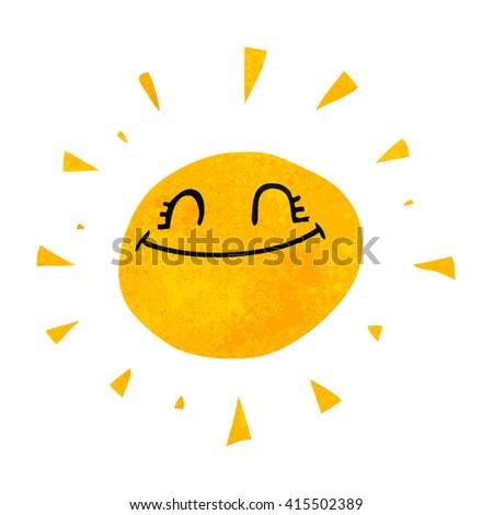 happy freehand retro cartoon sun - stock vector