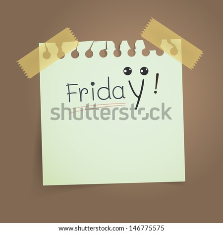 Happy Friday note on vintage torn paper. Vector illustration. - stock vector