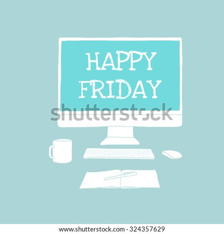 Happy Friday on monitor - Vector - stock vector