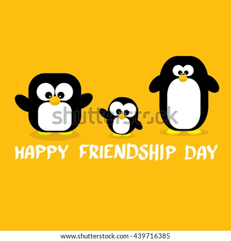Happy friends day background with funny cartoon penguins. Kids friend background