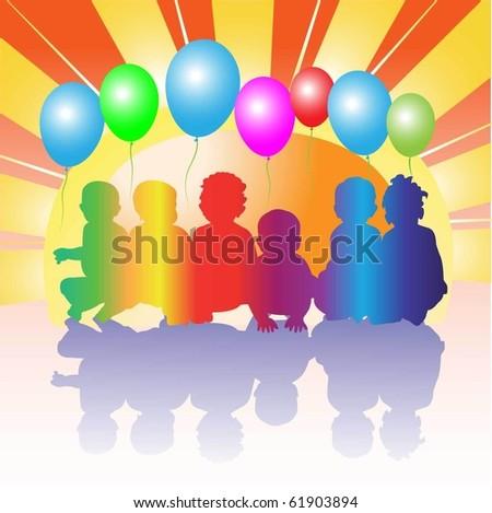 happy friends kids - stock vector