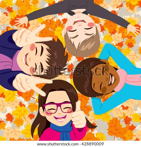 Happy friends lying on colorful autumn leaves - stock vector