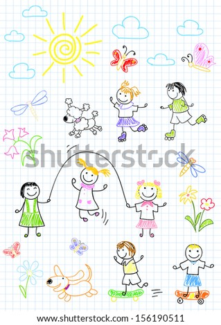 Happy friends, playing outdoors. Sketch on notebook page - stock vector