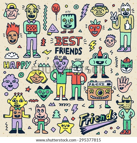 Happy Friendship Day. Best Friends Funny Cartoon Doodle Set. Vector Hand Drawn Color Illustration Pattern. - stock vector