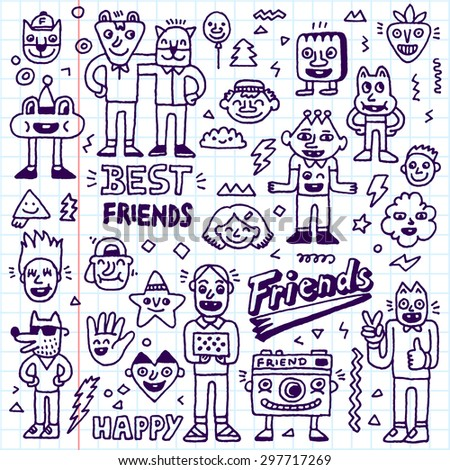 Happy Friendship Day. Best Friends Funny Cartoon Doodle Set. Vector Hand Drawn Illustration Pattern. School notebook. - stock vector