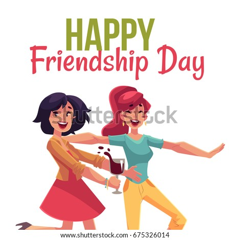 Happy Friendship Day Greeting Card Design With Friends Having Fun At A  Party, Cartoon Vector