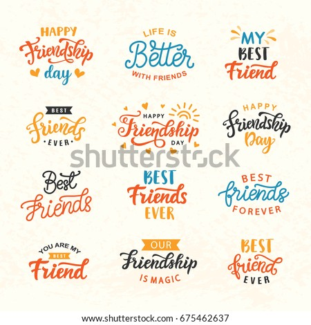 Happy Friendship Day Hand Lettering Big Stock Vector 675462637
