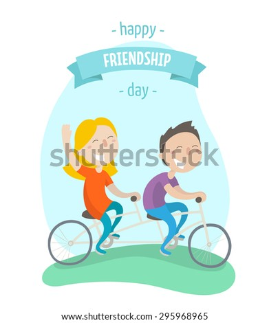 Happy friendship day - two best friends ride on tandem bicycle. Flat design. Vector illustration. - stock vector