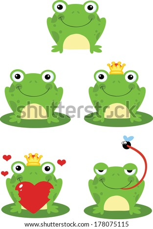 Happy Frog Sitting On A Leaf Cartoon Characters. Set Vector Collection - stock vector