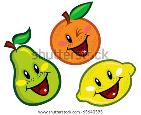 Happy Fruit Characters - stock vector