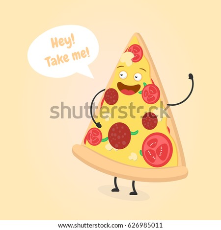 Cute Fast Food Hot Dog Pizza Stock Vector 159583010