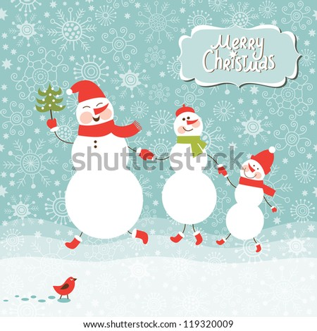 Happy funny Family of three snowmen, greeting Christmas card. Merry Christmas lettering - stock vector