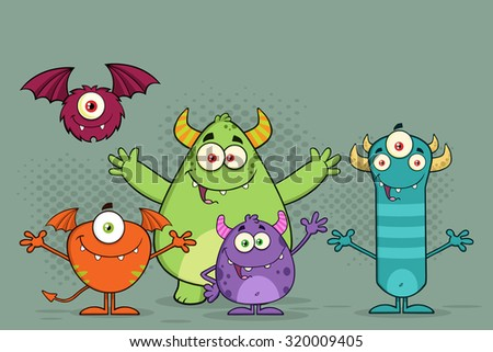 Happy Funny Monsters Cartoon Characters. Vector Illustration With Background - stock vector