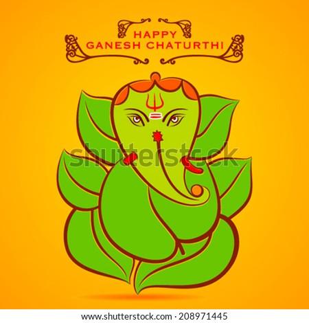 happy Ganesha chaturthi  festival greeting background vector - stock vector