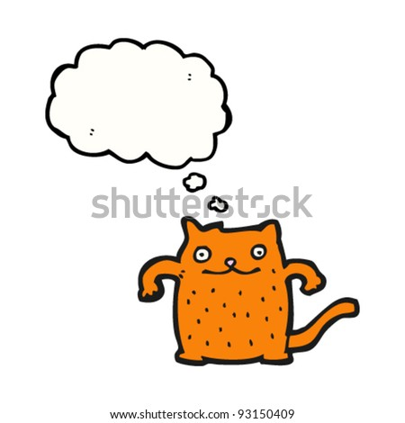 happy ginger cat with thought bubble