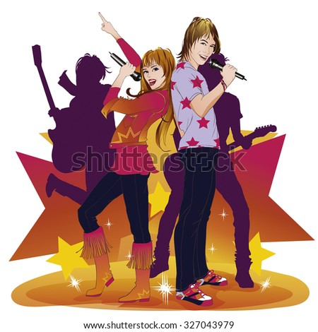Happy girl and boy singing a duet, handling microphone with behind two violet guitarists silhouettes. Every one isolated from background. Colorful stars. Trend outfit. - stock vector
