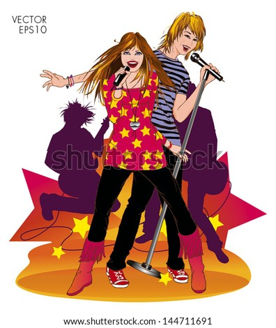Happy girl and boy singing a duet handling microphone with two guitarists in the back. Colorful. Isolated. - stock vector