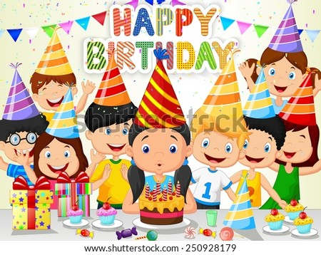 Happy girl blowing birthday candles with her friends - stock vector