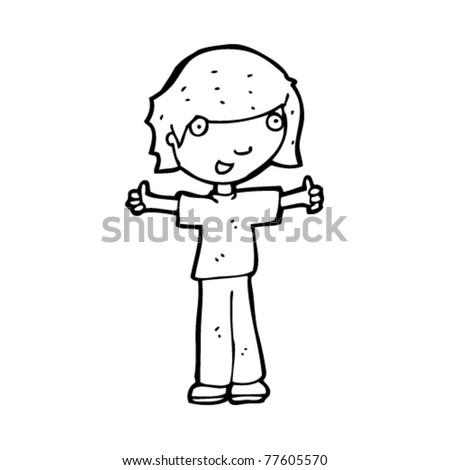happy girl cartoon - stock vector