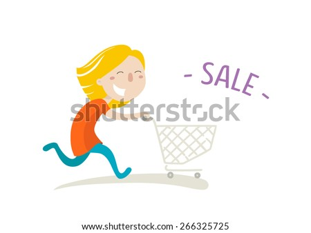 Happy girl hurries shopping on sale. Vector illustration. Flat style.  - stock vector