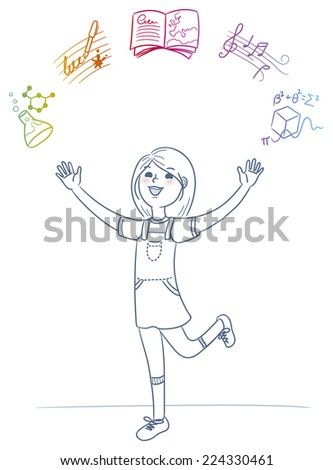 Happy girl loves learning different school subjects - stock vector