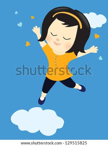 Happy girl on cloud nine - stock vector