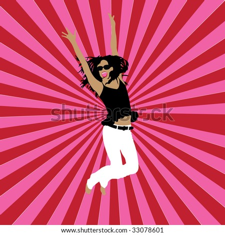 happy girl on striped background, vector illustration - stock vector