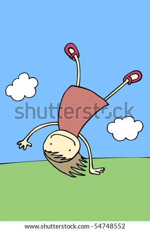 Happy girl performing somersault. (Series). Vector Illustration