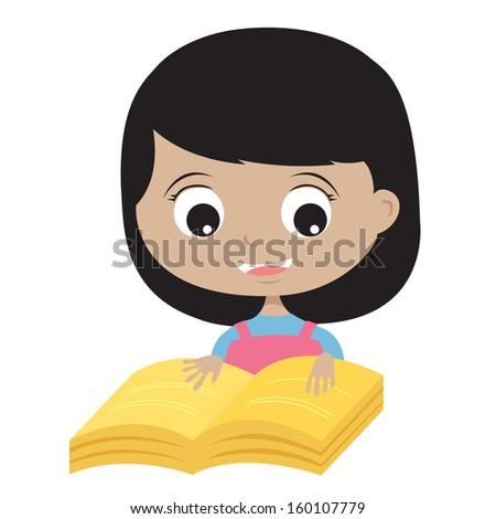Happy Girl Reading A Book Vector Illustration EPS10 - stock vector