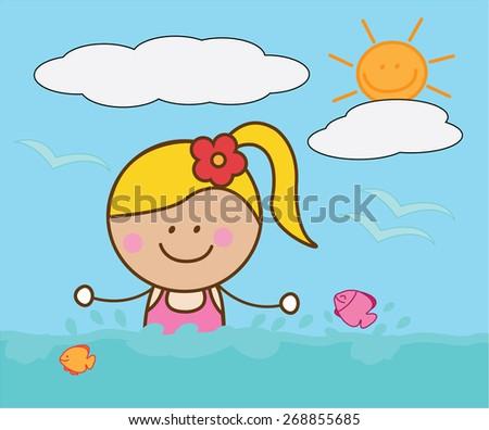 Happy girl swimming - stock vector